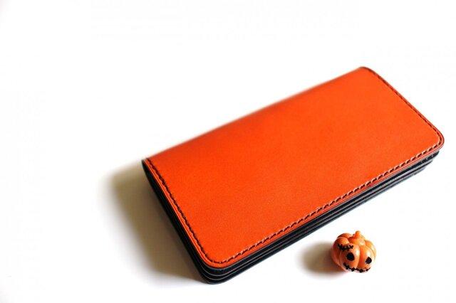 【受注生産品】長財布 ~栃木アニリン橙×栃木サドル~の画像1枚目