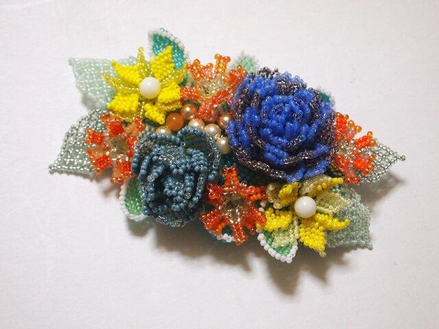 バレッタ Bouquet(ブルーローズ)の画像1枚目