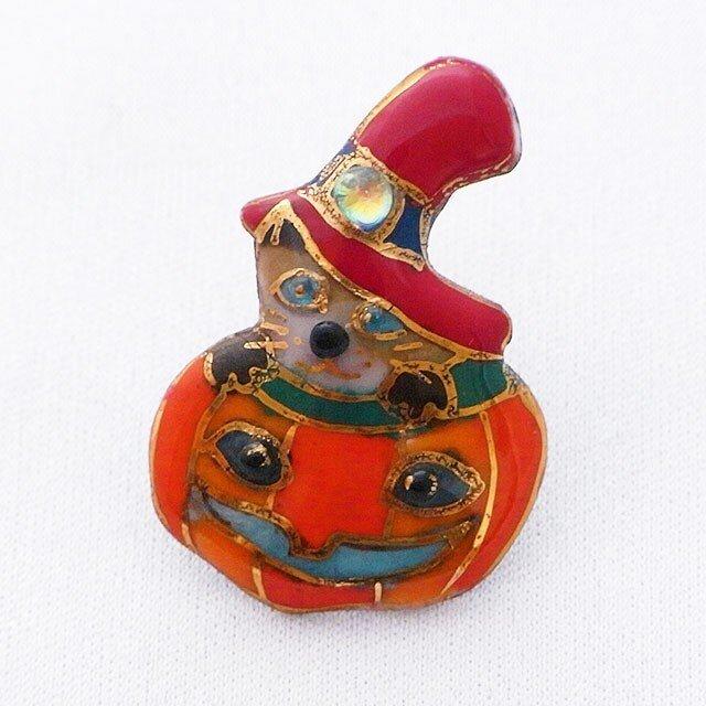 七宝焼ピンブローチ(,ピンズ) ハロウィンのカボチャランタン&猫の画像1枚目