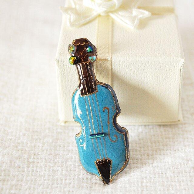 七宝焼ピンブローチ(ピンバッジ,ピンズ) バイオリン(青)の画像1枚目