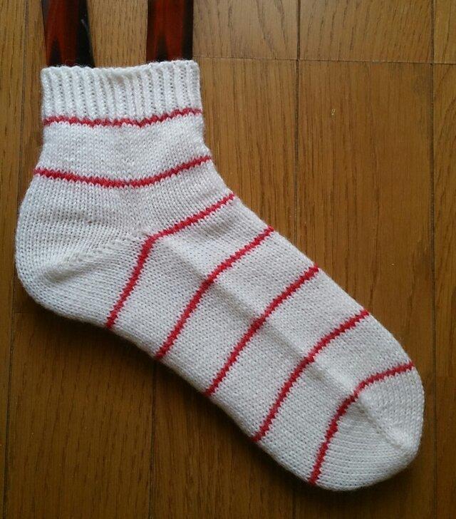 手編み靴下 ウール100%の画像1枚目
