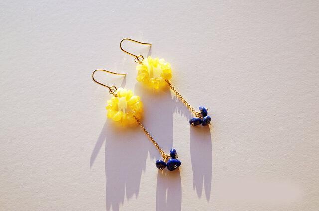 ラピスラズリ&琥珀 ピアス Bonheur Amber&Lapis earrings P0035の画像1枚目