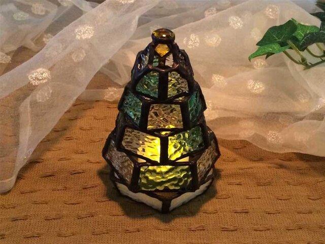 【小さなもみの木ランプ】ステンドグラス・ミニランプ(LEDライト付)の画像1枚目