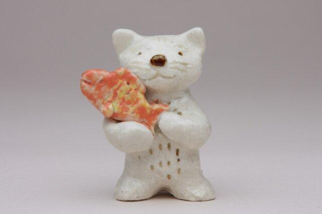 猫と魚(陶製)の画像1枚目