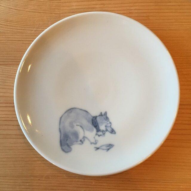 染付4寸猫皿 38の画像1枚目