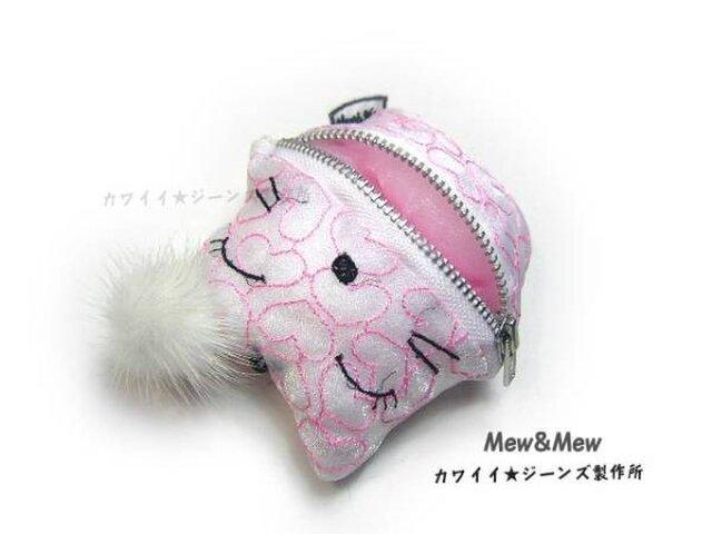 ★不思議な白猫のピンクのハート★携帯ストラップ★ぬいぐるみ★の画像1枚目
