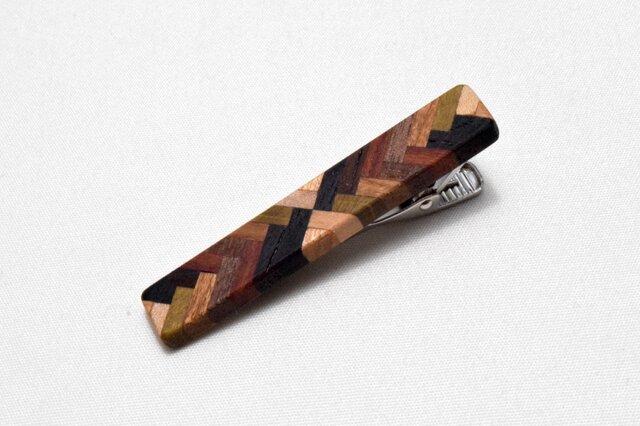 [再出品]【寄木】手作り木製タイピン クロム金具の画像1枚目