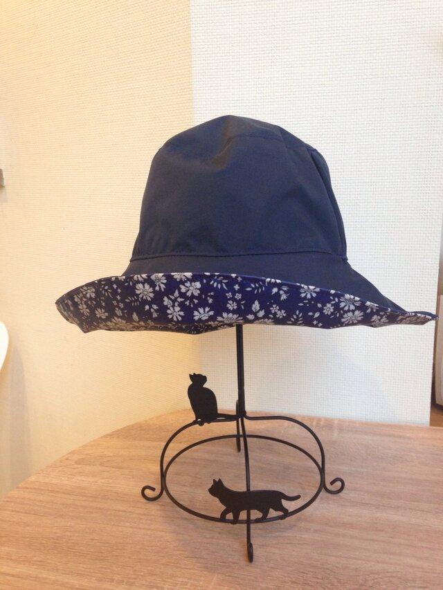 リバティ雨帽子 レインハット リバーシブルの画像1枚目