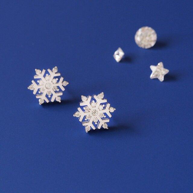 雪の結晶 ピアス シルバー925の画像1枚目