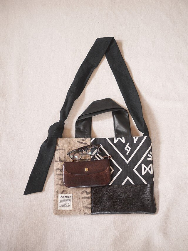 Coffee beans sackpatchwork totebag <M>の画像1枚目
