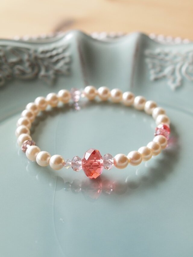 Swarovski の真珠ブレスレット *パパラチア*の画像1枚目