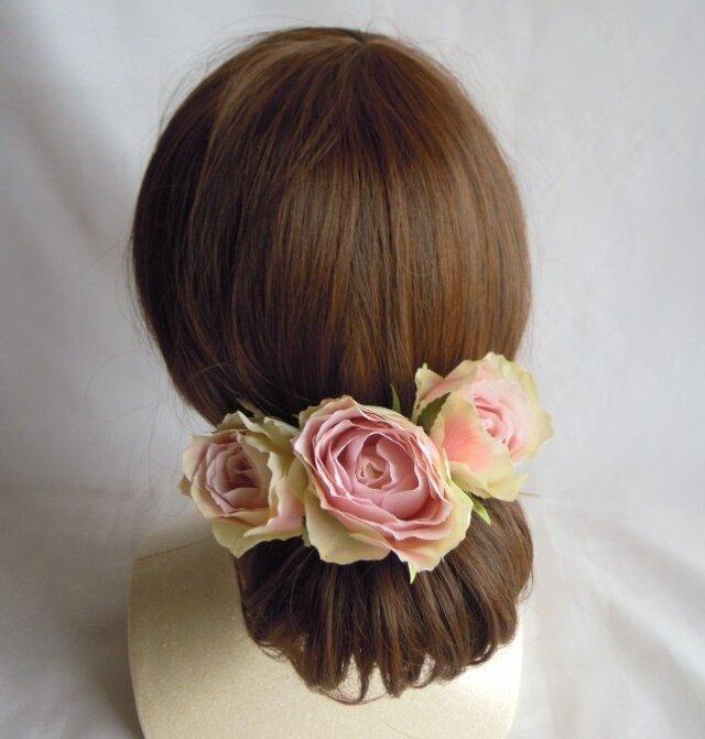 ヘッドドレス アンティークピンクのバラの画像1枚目