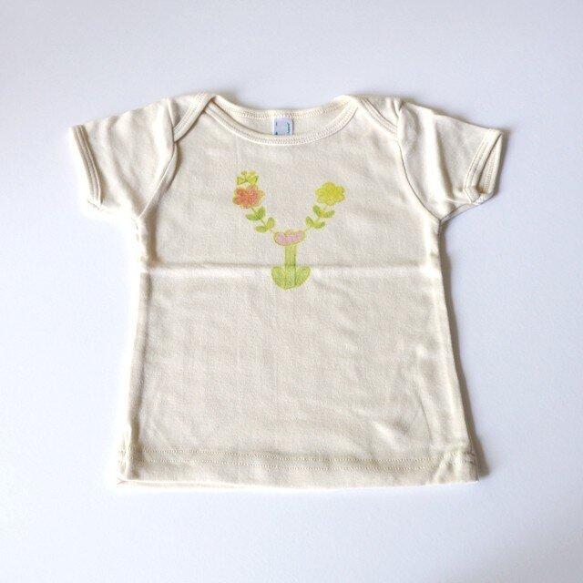 お花畑アルファベット ベビーTシャツ (グリーン) ● organic cotton 100%【受注生産】の画像1枚目