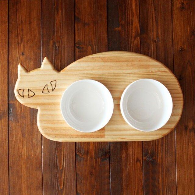 【ミニサイズ】木製ネコ型 フードテーブル(フードボウル12.5cm付)13.CATS.WORKSオリジナルの画像1枚目