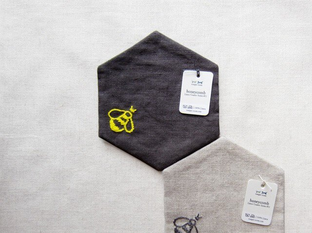 Linen coaster [honeycomb] グレーの画像1枚目