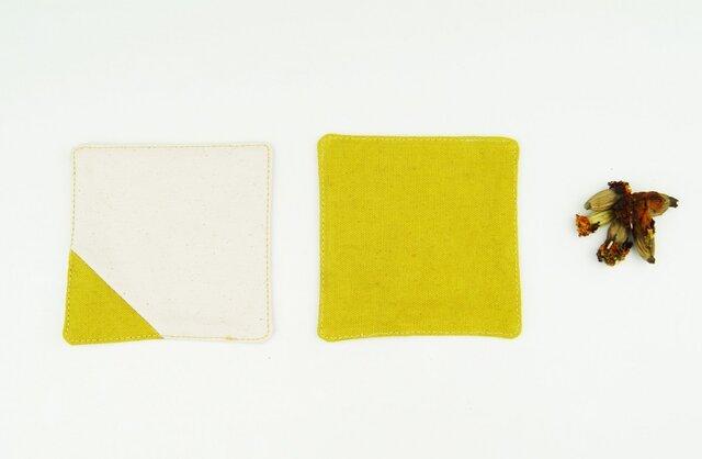 TEAtimeに華を。草木染めオーガニックコットン100%帆布コースター〜芥子色(からしいろ)〜の画像1枚目