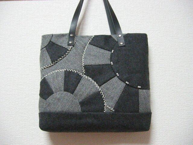 ウールのパッチワークバッグの画像1枚目