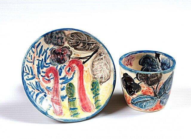 淡彩野の草花図(小)・釉下色絵フリーカップセットの画像1枚目