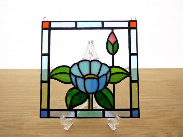 ステンドグラス ミニパネル 華・ブルー 15cmの画像1枚目