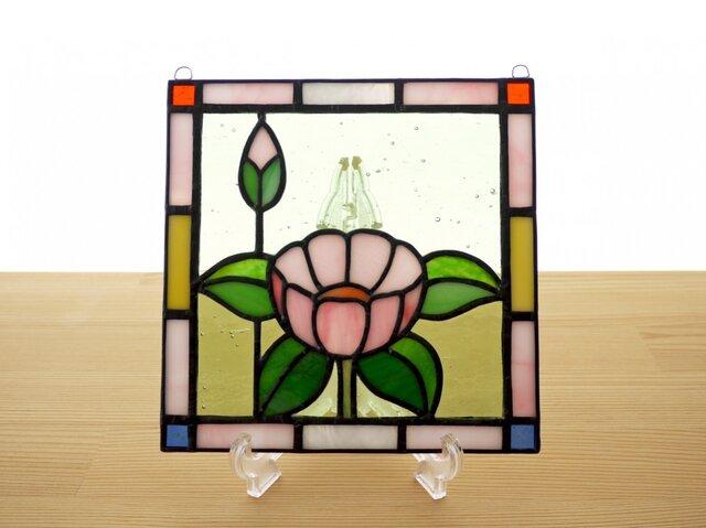 ステンドグラス ミニパネル 華・ピンク 15cmの画像1枚目