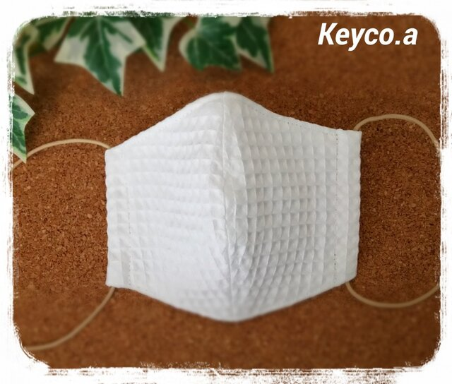 (L)綿ワッフル白*ワイヤ入り立体マスクの画像1枚目
