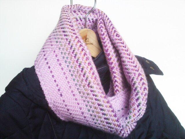 手織り スヌード ピンク グラデーションの画像1枚目