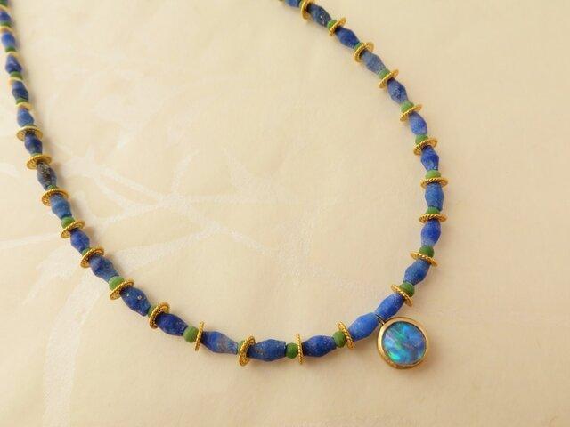 K18   Opal・Lapis・Malachite Necklaceの画像1枚目