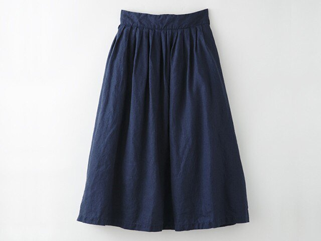 【Mサイズ】[ボタニカルダイ・ログウッド染め]麻のスカート 8612-05014-10の画像1枚目