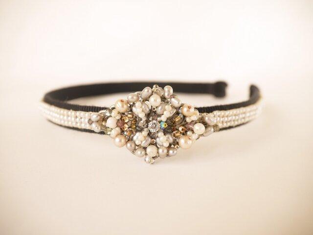 カチューシャ(パールダイヤモンド)15110739の画像1枚目
