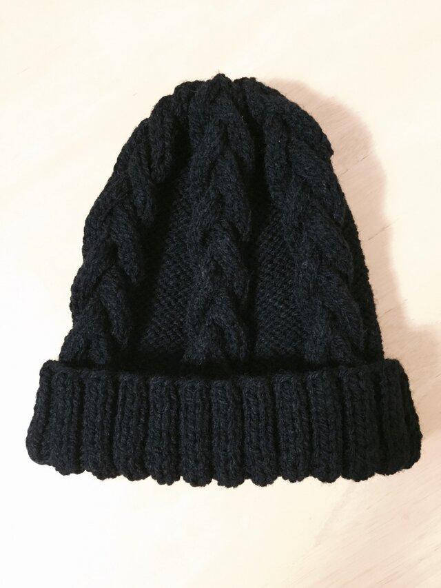 ニット帽 ブラック 男女兼用の画像1枚目