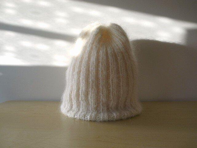 モヘアのリブ編みニット帽・ホワイト●受注生産●の画像1枚目