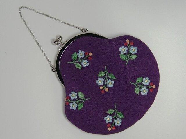 小花の手刺繍 がまぐちポーチの画像1枚目