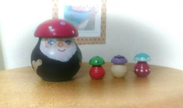 森の精霊レーシイ&コキノコ3個組マトリョーシカ(ピンク帽子)(再販)の画像1枚目