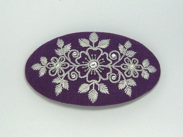 花刺繍のヘアピン(紫)の画像1枚目