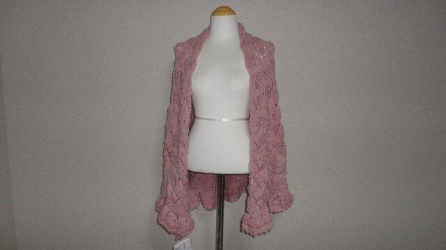 ピンクのお花のような 半円形ショールの画像1枚目