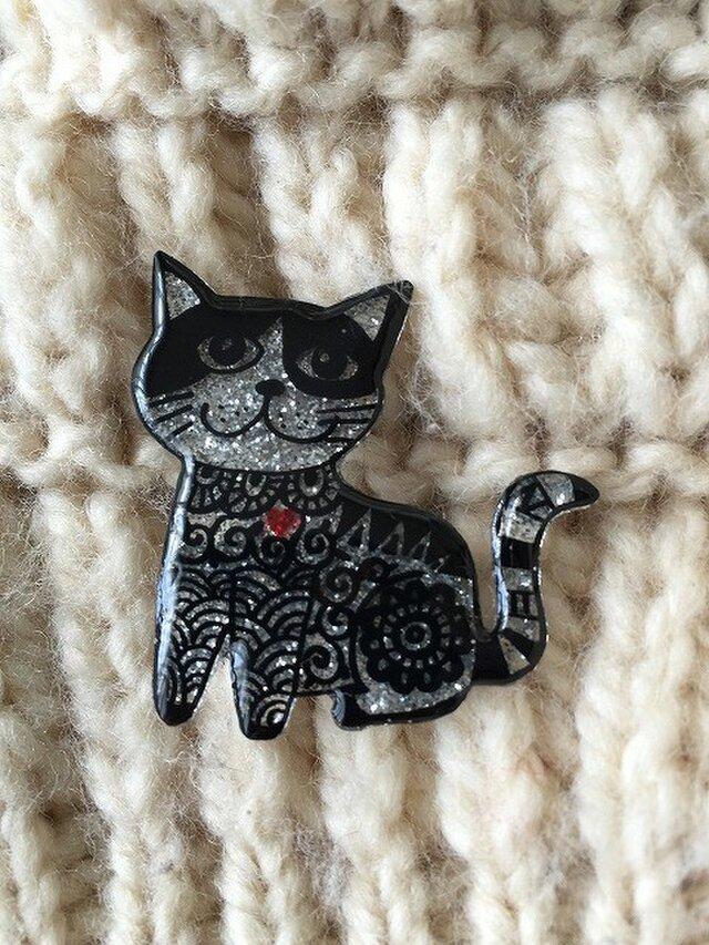 猫のピカピカブローチの画像1枚目