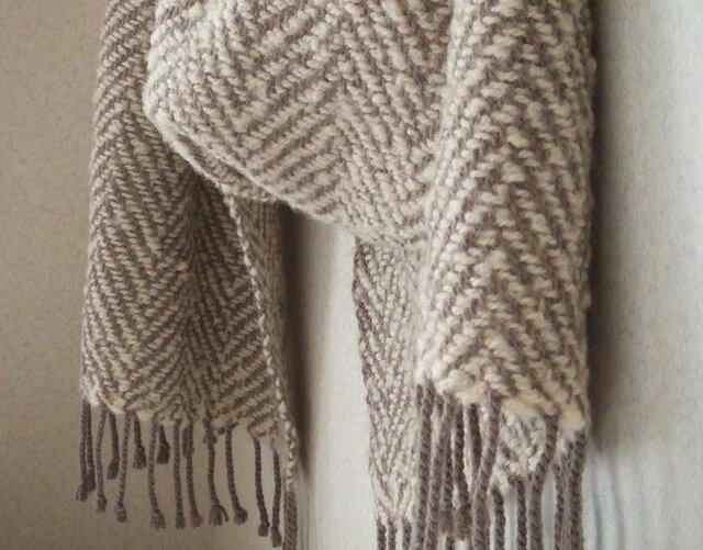 手織りウール&シルクストール・・根雪の画像1枚目