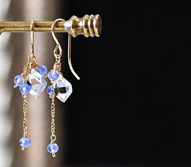 [再販]ハーキマ-ダイヤモンドとタンザナイトのピアス14KGFの画像1枚目
