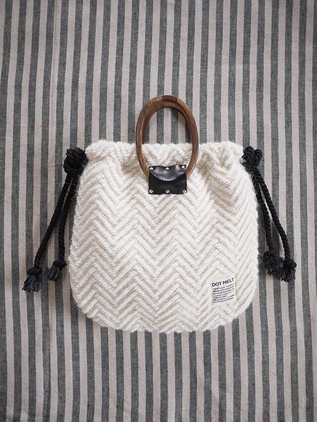 wood handle knit bag <offwhite>の画像1枚目