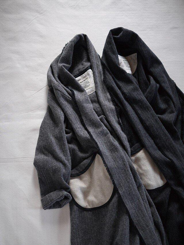 tsukiyo no gown coat (grey herringbone)の画像1枚目