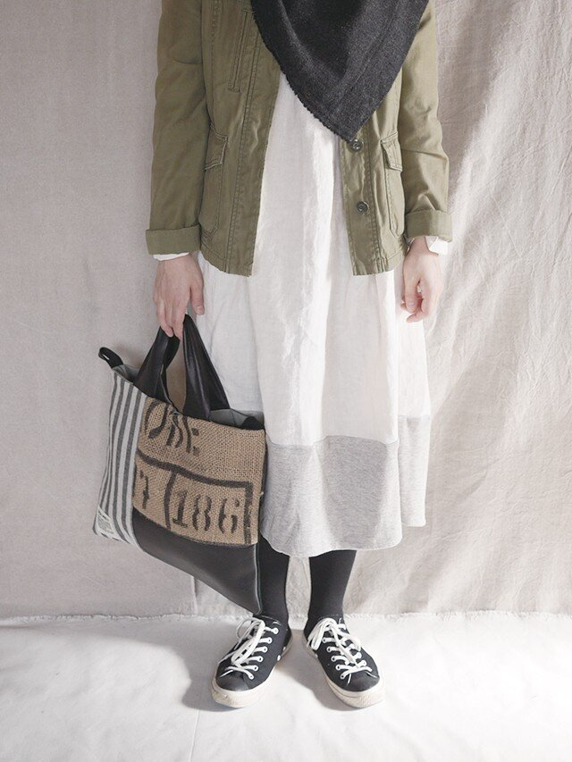 Coffee beans  sackpatchwork totebag <M−2>の画像1枚目