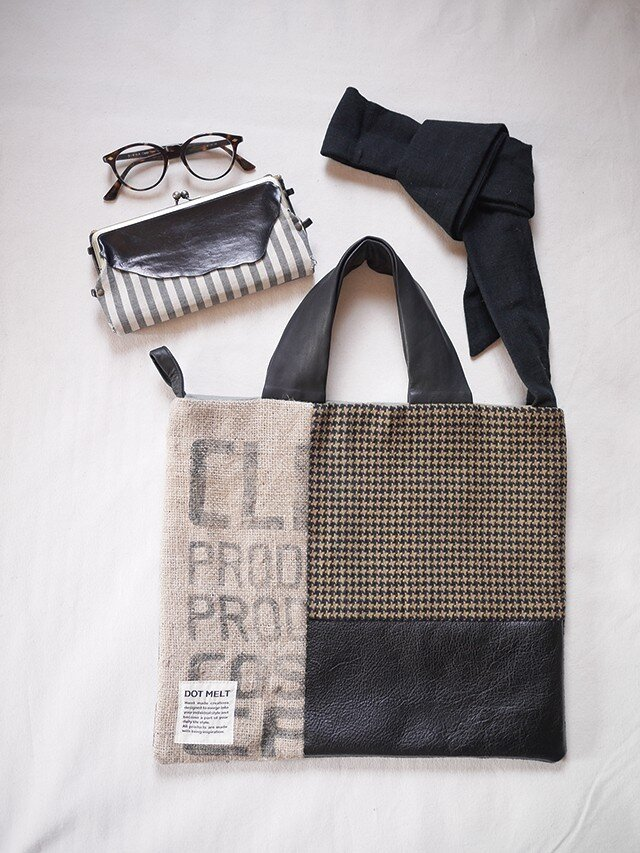 Coffee beans  sackpatchwork totebag <M-2>の画像1枚目