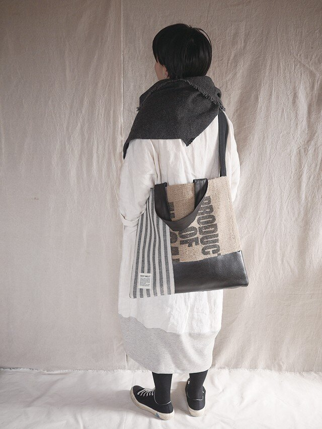 Coffee beans sackpatchwork totebag <L>の画像1枚目