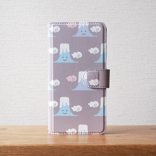 笑う富士山の手帳型スマホケースの画像1枚目