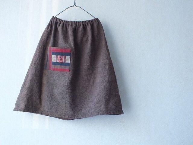 どんぐり染め手織りスカートの画像1枚目