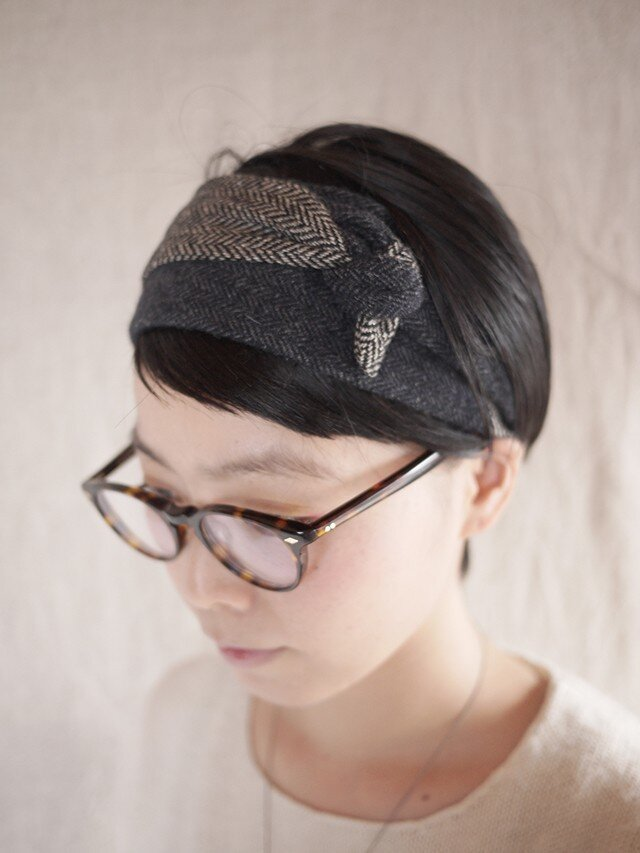 resale▼ patchwork turban <navytone>の画像1枚目