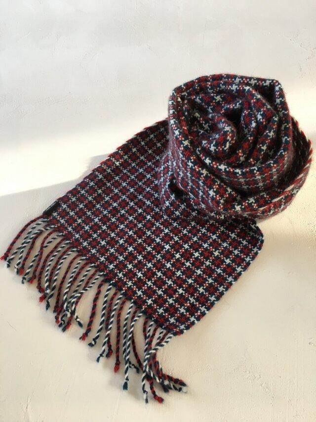 [受注制作] アンゴラの手織りマフラーの画像1枚目