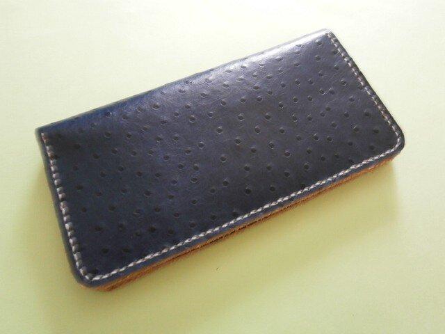 牛革オーストリッチ型押し 手縫い財布の画像1枚目