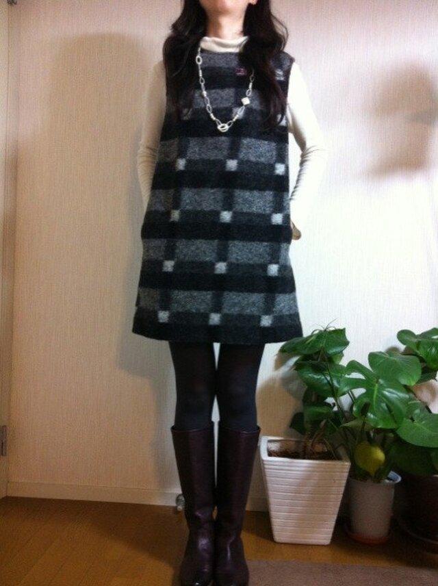 イタリー製圧縮ウールジャンパースカートの画像1枚目