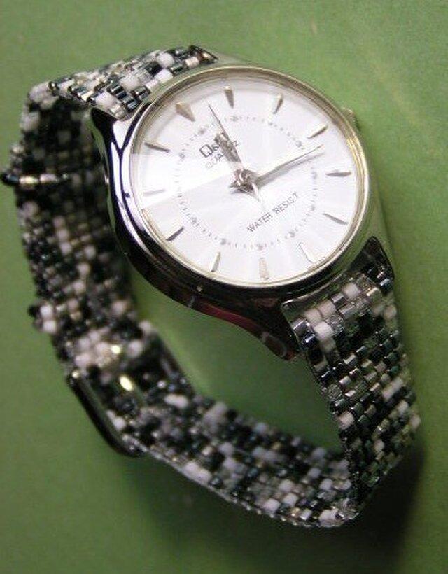 ビーズ織の時計ベルト(12mm)ストーン柄 ベルトのみ の画像1枚目